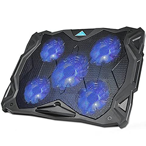 Laptop Cooling Pad, TeckNet Heavy Duty USB Powered Silent Gaming Laptop Notebook Cooler Cooling Pad Stand with 5 Fans and Blue LED Lights for Macbook Pro, Fits (Blue Laptop 17)
