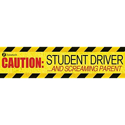 """Zone Tech 1-Pack Caution Student Driver and Screaming Parent Funny Magnetic Bumper Sticker Sign for Student Driver - 12"""" X 3"""" & 35 Mil Thick: Automotive"""