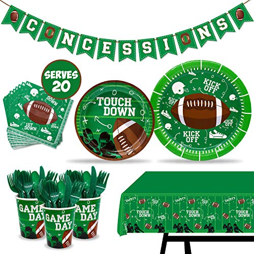 Super Bowl Supplies (Football Touchdown Party Supplies Set Game Day Accessory Football Themed Value Pack Including Concession Stand Banner, Plate, Cups, Napkins, Plastic Table Cloth Tailgate Party Supplies Super Bowl Sunday or NFL)