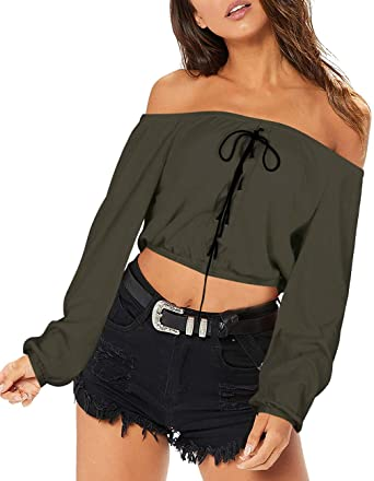 639af0b8c8 Womens Off Shoulder Strapless Blouse Top Casual Loose Rib-Knit Tees Shirt(Army  Green
