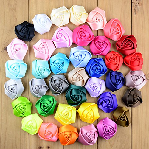 CellElection 39pcs Different Color Handmade Mini Fabric Roses Flowers for DIY Headbands Clips Wedding Flower Accessory (without clips) - Pair Costumes Pinterest
