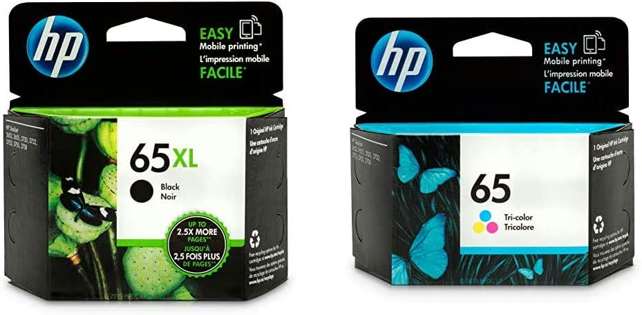 HP 65XL | Ink Cartridge | Black | N9K04AN & 65 | Ink Cartridge | Tri-Color | N9K01AN