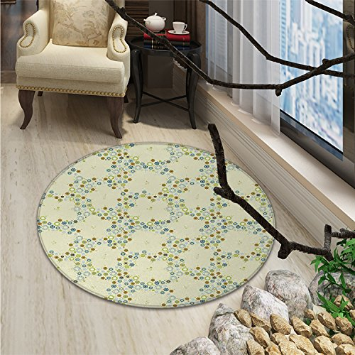 Flower Round Rug Kid Carpet Ornament of Medallion Shapes Bordered with Small Wildflowers Pattern PrintOriental Floor and Carpets Khaki Blue Green