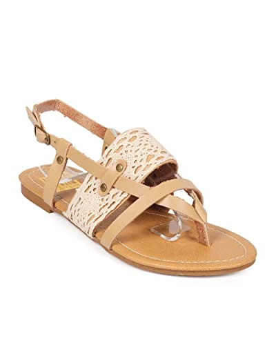 a890b87cd Bumper Women Leatherette Crochet Strappy Slingback Flip Flop Sandal EE75 -  Tan (Size  8.5