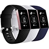 Fitbit Charge 3 Strap Band (3 Pack) Sport Wristband with Adjustable Alloy Buckle for Men Women Small Large