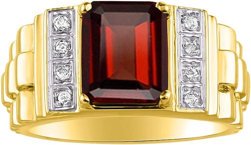 RYLOS Anillo para hombre con piedra preciosa de corte esmeralda y diamantes brillantes genuinos en oro amarillo de 14 quilates – 10 x 8 mm piedra de color – Estilo de diseñador