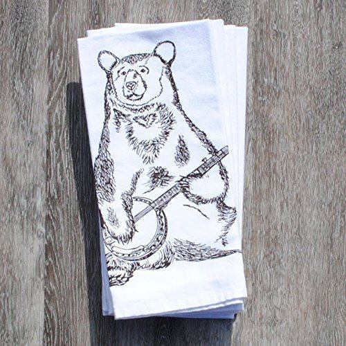 Cotton Table Napkins Set of 4 Kitchen Table Linens Banjo Bear by Heaps Handworks