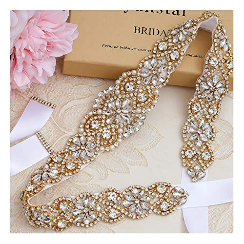 Yanstar Handmade Gold Crystal Beads Belts Sashes For Bridal Wedding Gowns