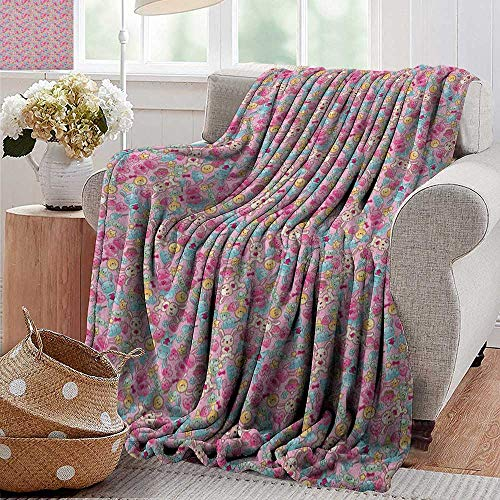 "Flannel Throw Blanket,Baby,Kawaii Bunnies Ice Cream and Candies Doodle Style Cartoon Drawing Abstract, Pink Turquoise Mustard,Winter Luxury Plush Microfiber Fabric 50""x70"""