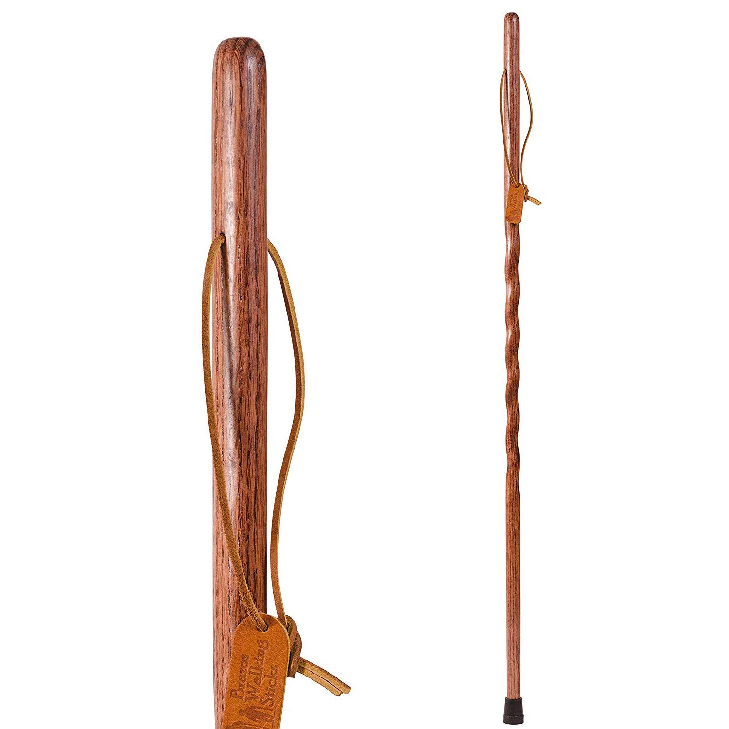 Brazos Trekking Pole Hiking Stick for Men and Women Handcrafted of Lightweight Wood and made in the USA, Red Oak, 55 Inches