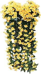Hanging Flowers Artificial Violet Flower Wall Wisteria Basket Hanging Garland Vine Flowers Fake Silk Orchid for Garden Wedding Party Home Decor (Yellow)