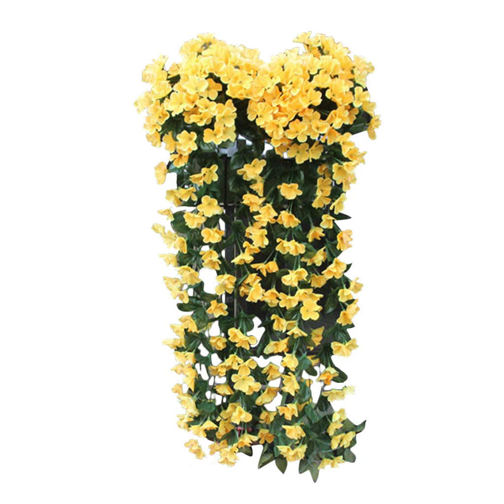 Hanging Flowers Plants,Artificial Violet Flower Wall Wisteria Basket Hanging Garland Vine Flowers Fake Silk Orchid Simulation Rattan Plant Vine Wedding Home Garden Balcony Floral Decoration (Yellow)
