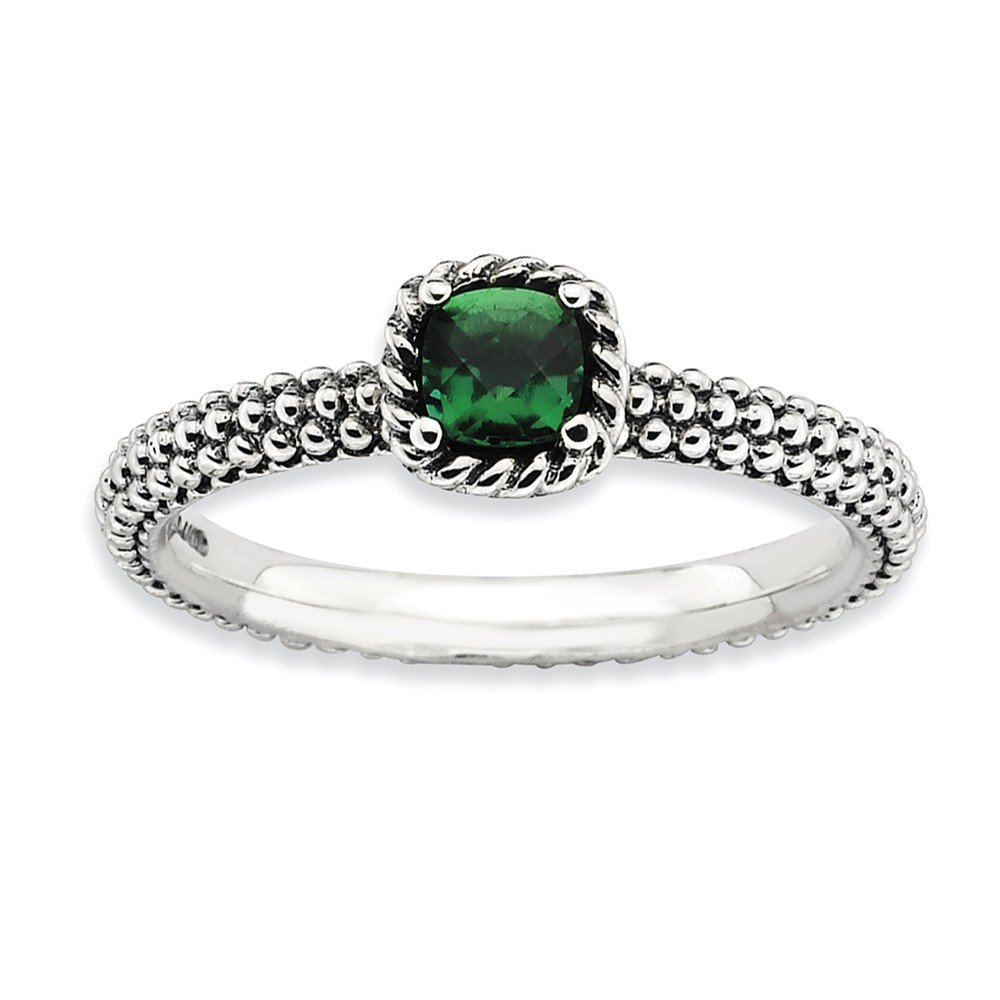 Antiqued Sterling Silver Stackable Created Emerald Ring, Size 9 by Stackable Expressions