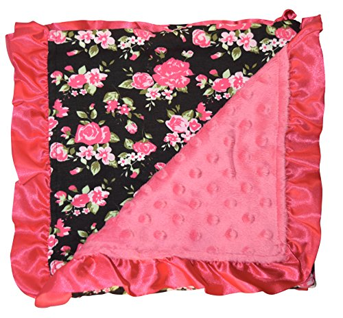 Floral Pink Trim - Unique Baby Soft Textured Minky Dot Blanket with Satin Trim, Vintage Floral with Pink Ruffle