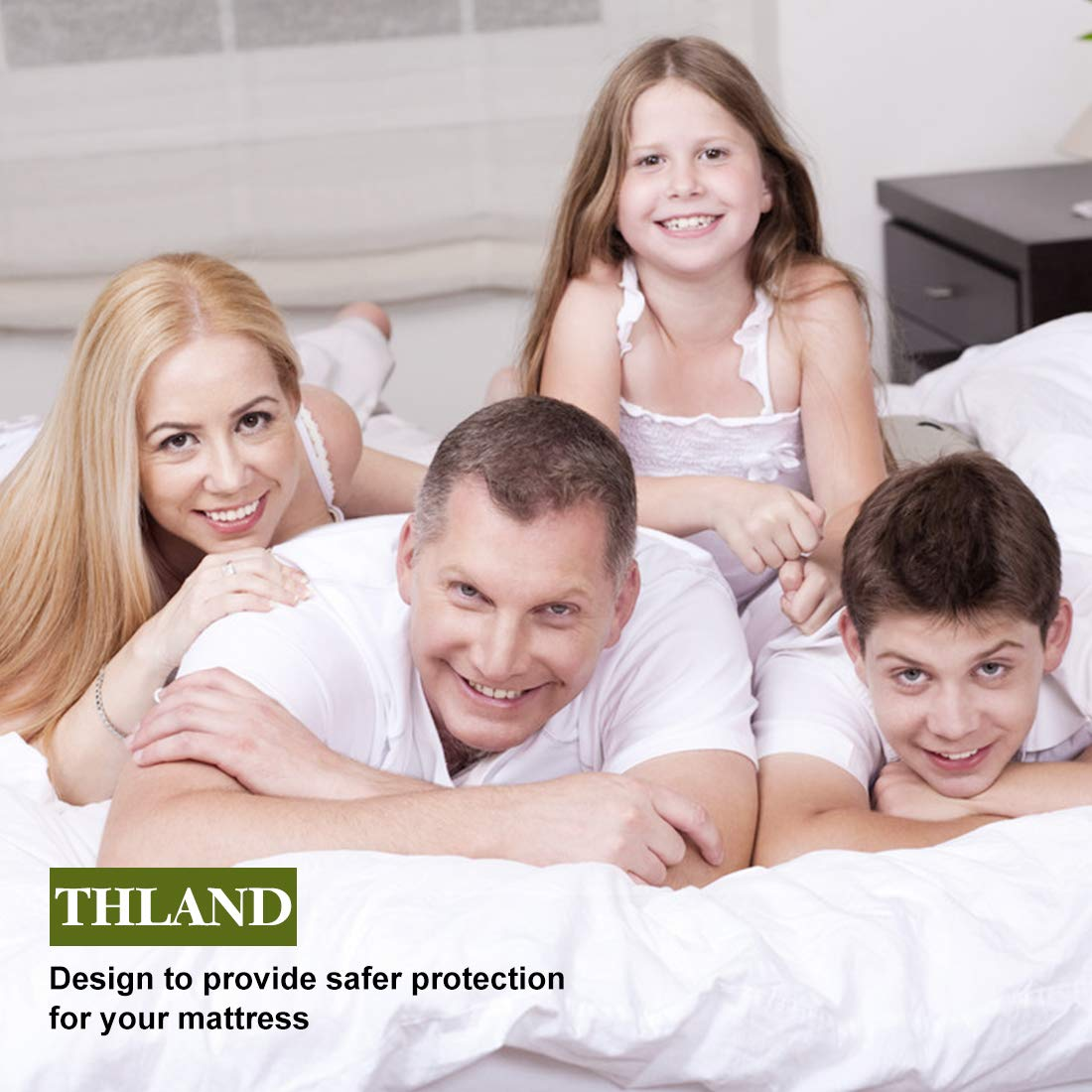 THLAND King Quiet Waterproof Mattress Protector Breathable Cool Mattress Pad Cover, Hypoallergenic Cotton Terry Surface, Fitted Sheet Design (up to 21'' Depth), Vinyl Free by THLAND (Image #7)
