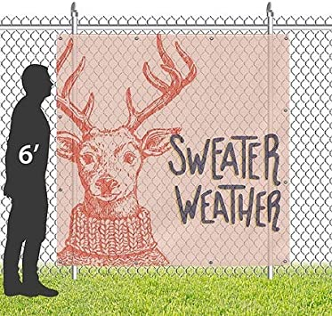 Sweater Weather Peach 8x8 Square Wind-Resistant Outdoor Mesh Vinyl Banner Holiday Decor CGSignLab