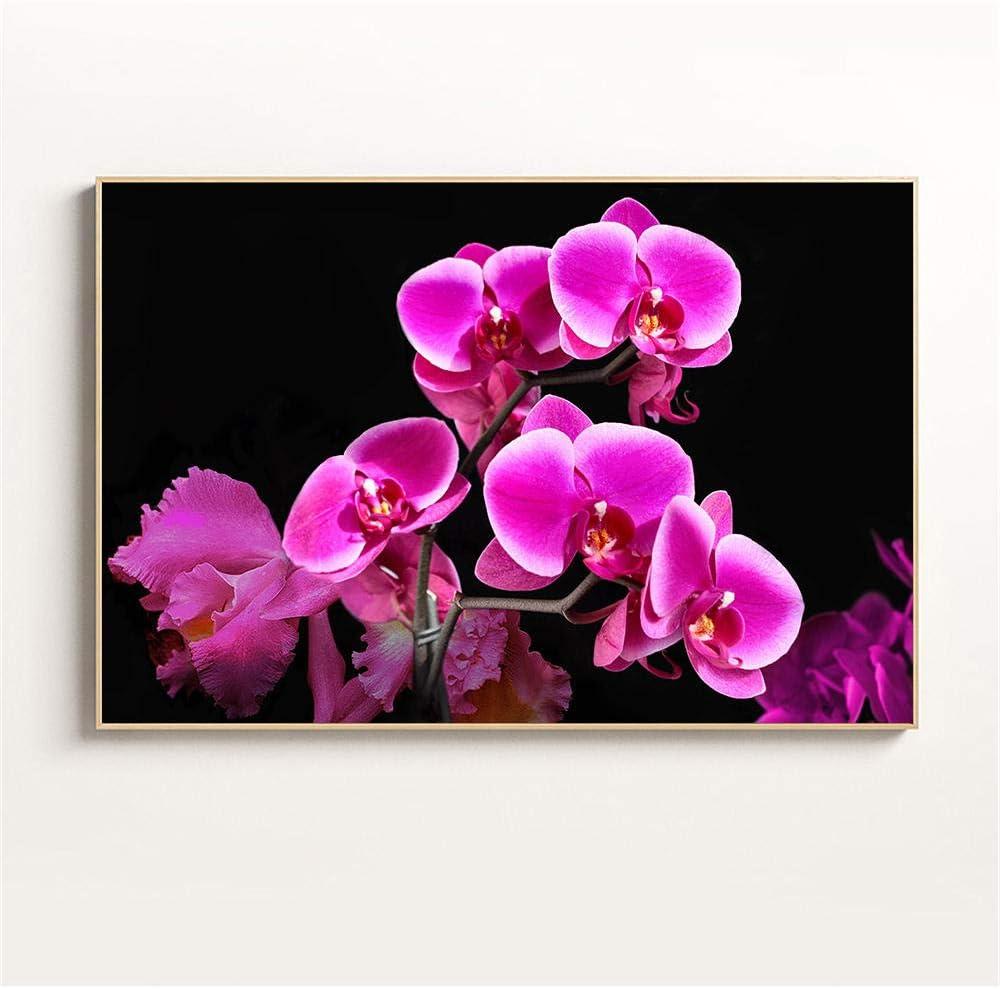 Cuadros de lienzo para el dormitorio Impresión moderna Decoración del hogar Flores Orquídea de mariposa Flor de niña púrpura Decoración de la habitación Cuadro de lienzo Decoración de cocina Cuadr