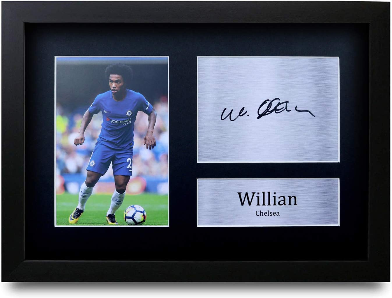 HWC Trading Willian Gift Signed FRAMED A4 Printed Autograph Chelsea Gifts Print Photo Picture Display