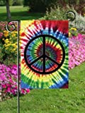 Peace Symbol Garden Flag Mini Rainbow Tie Dye Colorful