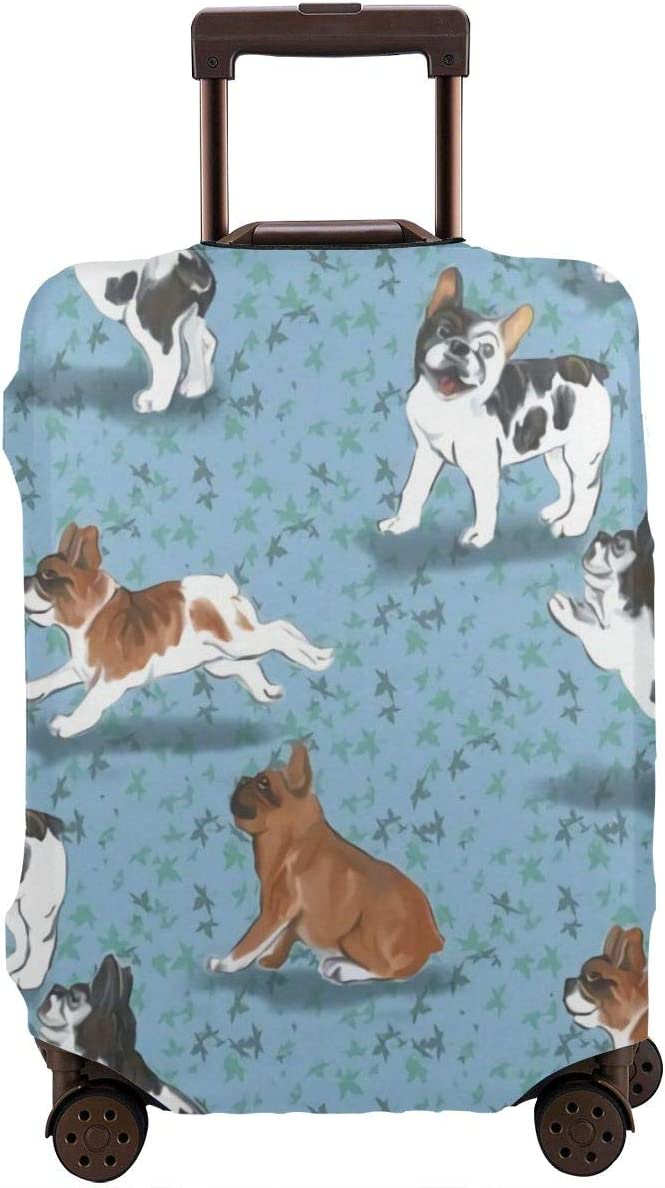 Luggage Cover Elastic Travel Suitcase Protector Fits 18-32 Inch Frolicking French Bulldogs on Blue XL
