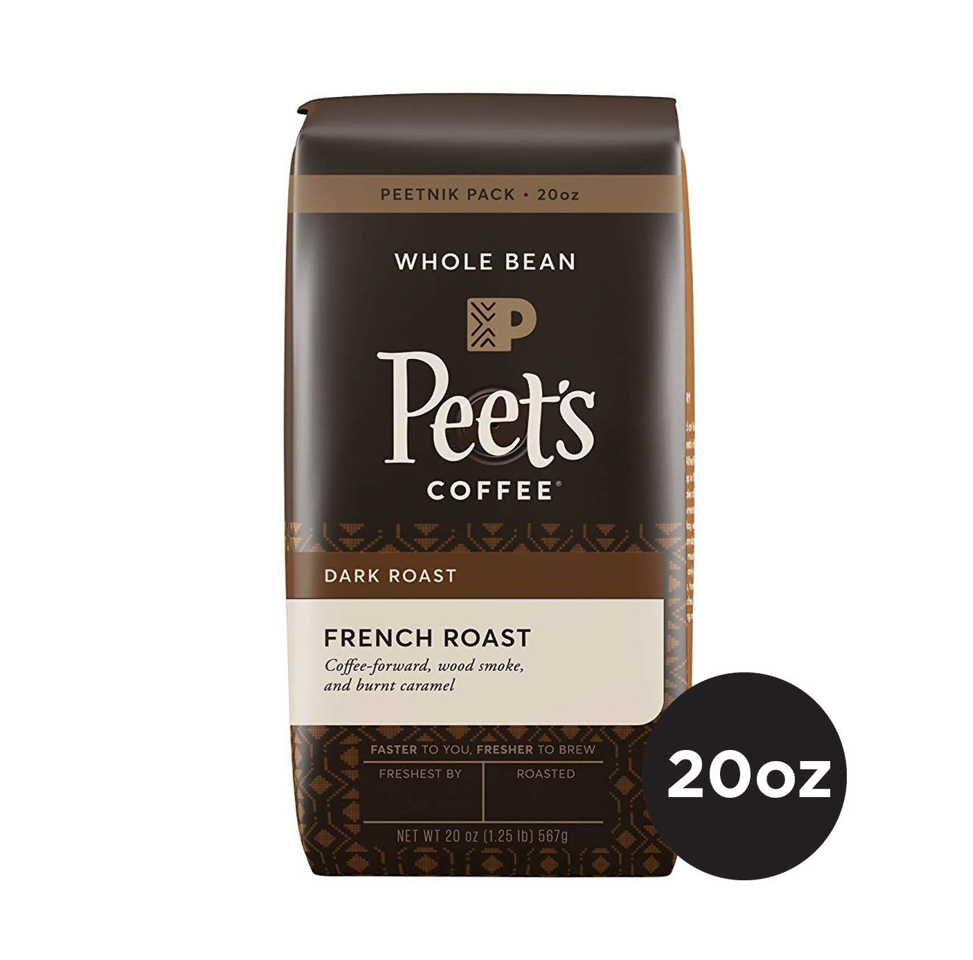 Peet's Coffee French Roast, Dark Roast Whole Bean Coffee, 20 Ounce Peetnik Pack, Direct Trade Coffee