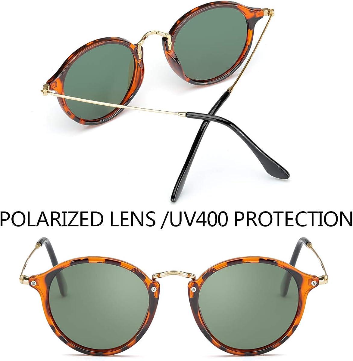 ELIVWR Polarizzati Occhiali da Sole Rotondi Vintage Protezione al 100/% Contro i Dannosi Raggi UVA//UVB