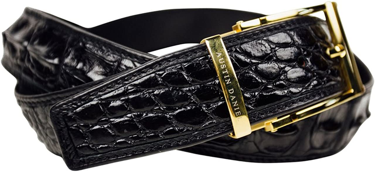BLACK GENUINE ALLIGATOR LUXURY BELT WITH GOLD BUCKLE AUSTIN DANIEL