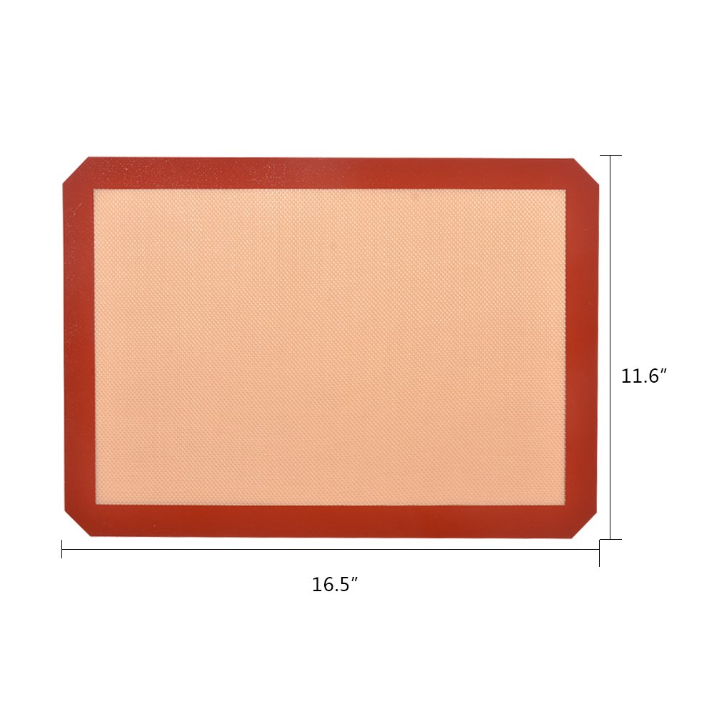 SZUAH Silicone Baking Mats Set, 2pk Non Stick Silicon Pan Liners for Macaroon/Pastry/Cookie/Bun/Bread Making - FDA Approved & Heat Resistant - Half Sheet Size (11 5/8\