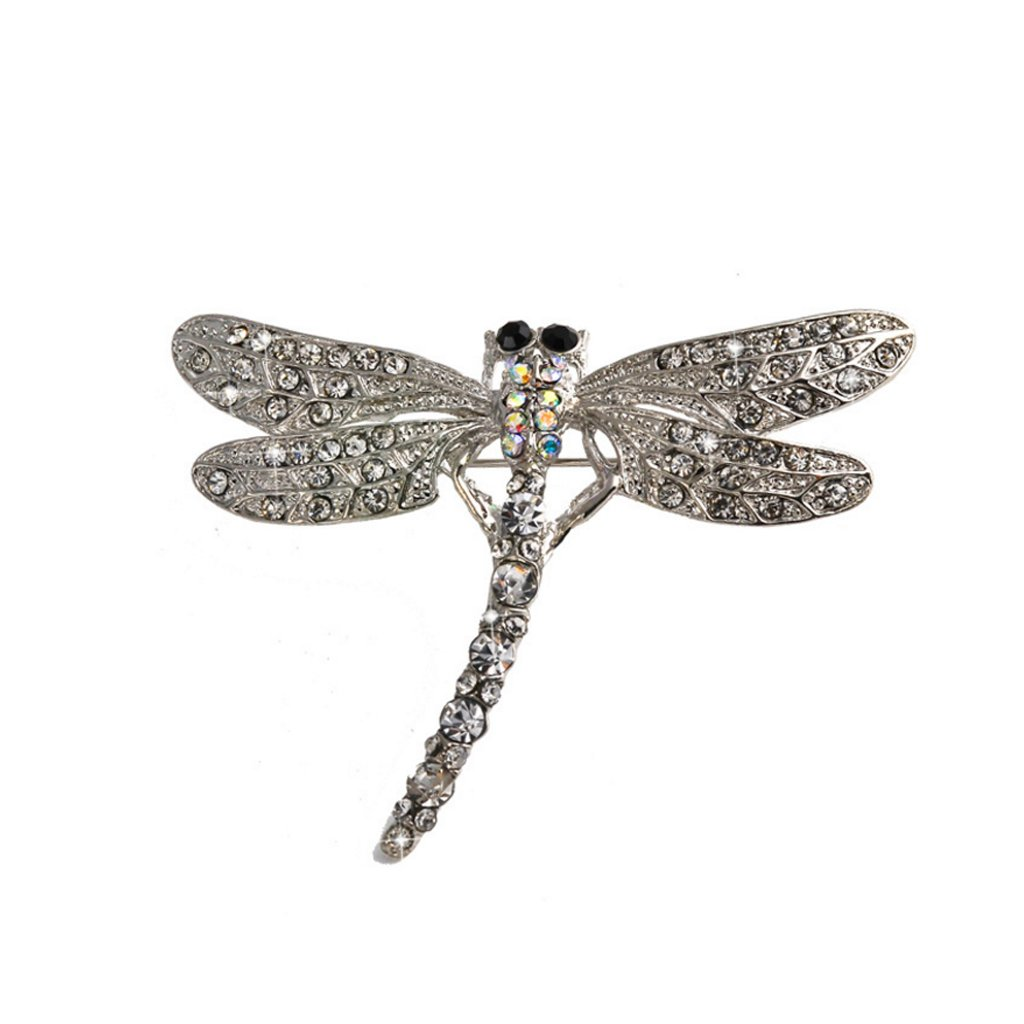 Lovely Dragonfly Sparkle Silver Alloy Clear Rhinestone Crystal Brooch Pin Generic STK0156010183