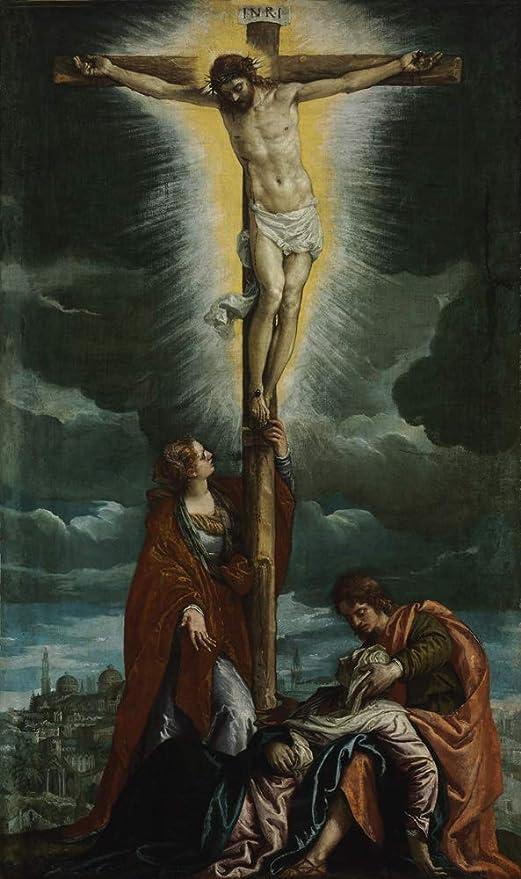 A Crucificação Jesus Cristo na Cruz Maria Madalena e Maria 1580 Pintura de  Paolo Veronese na Tela em Vários Tamanhos (120 cm X 70 cm tamanho da  imagem) | Amazon.com.br