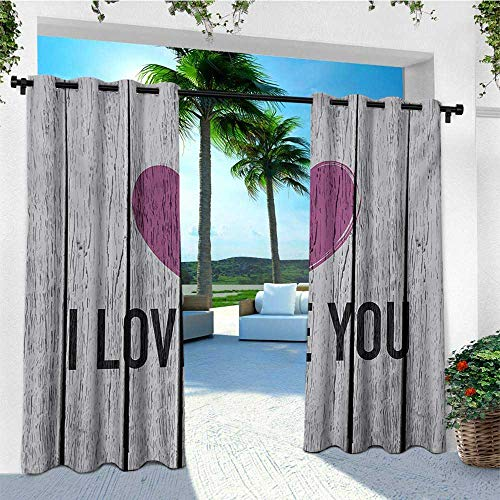 leinuoyi I Love You, Outdoor Curtain Kit, Valentines Day Typography on Wooden Planks Rustic Symbolic Celebration, for Patio Furniture W72 x L96 Inch Fuchsia Pale Grey