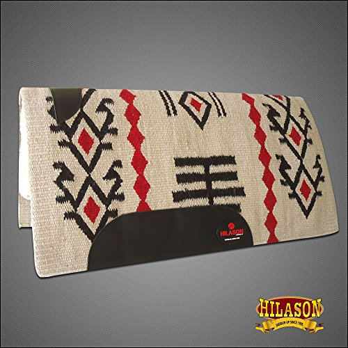 HILASON Made in USA Western Wool Shock Buster Saddle Blanket Pad White Crimson