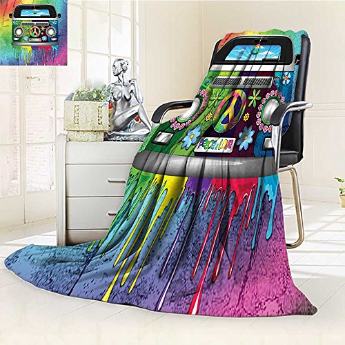 (YOYI-HOME Silky Soft Plush Warm Duplex Printed Blanket,Style Hippie Van with Dripping Rainbow Paint Mid S Youth Revolution Movement Theme Multi Anti-Static,2 Ply Thick Blanket /W47 x H79)