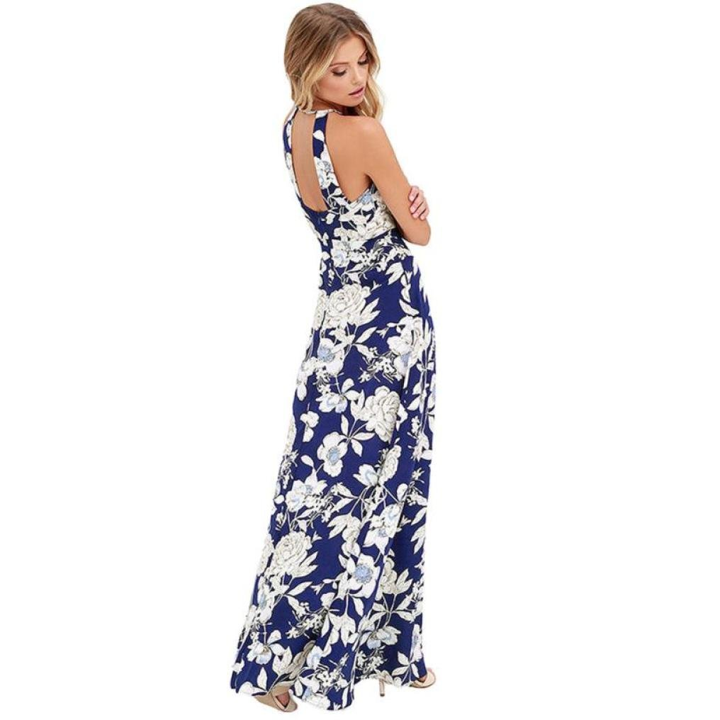Kleid Sannysis Damen Womens Boho Kleid lange Maxi Abendkleid ...