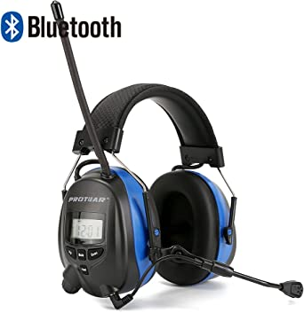 Imagen dePROTEAR Protección auditiva Bluetooth / Radio AM / FM, orejeras de seguridad para la protección auditiva con micrófono boom, orejeras de seguridad con reducción de ruido electrónico SNR 30dB