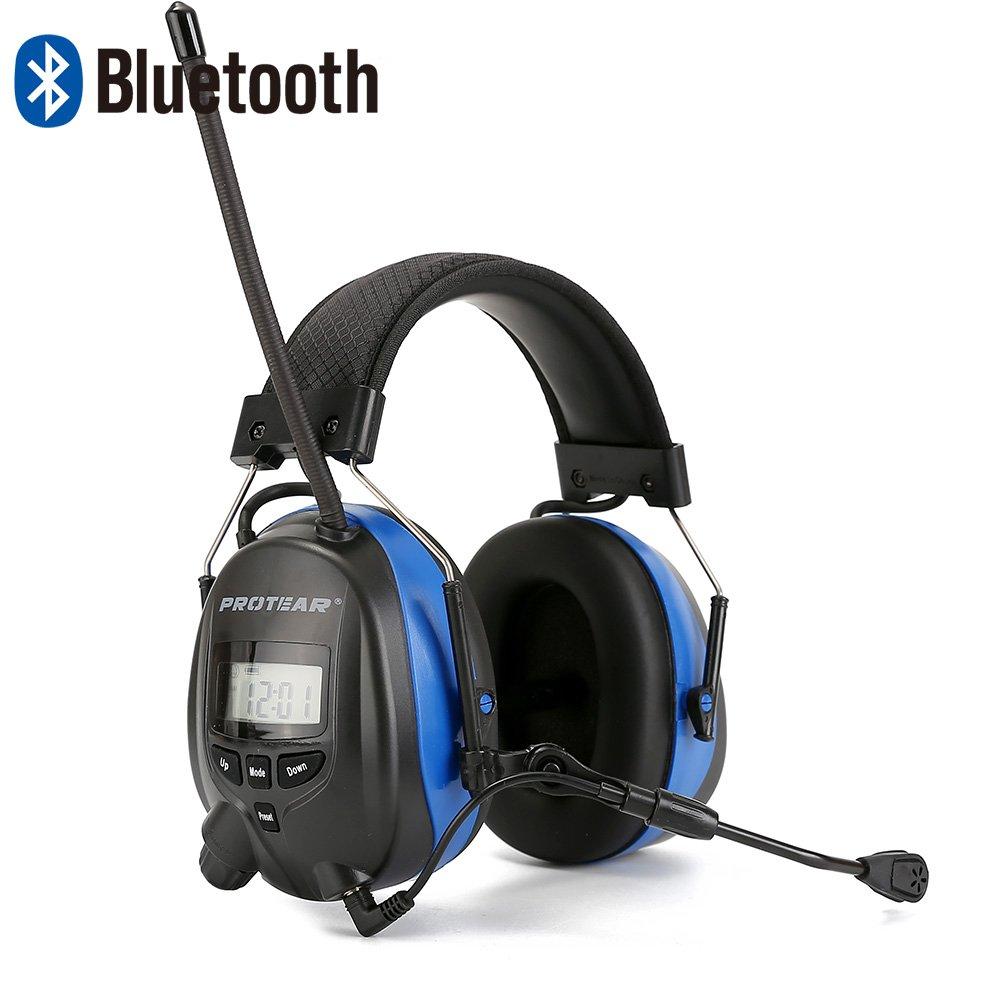 Protear Bluetooth & Radio AM / FM Protège-oreilles, Cache-oreilles de sécurité pour protection de l'ouïe avec microphone perche, Cache-oreilles électroniques de sécurité avec réduction du bruit NRR 25dB