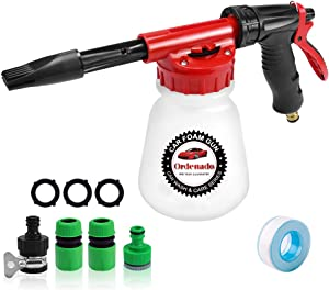Ordenado Car Wash Foam Gun, Adjustable Hose Wash Sprayer & Ratio Dial/Snow Foam Blaster with Thick Suds -Foam Cannon for Car Home Cleaning and Garden Use with Quick Connector to Any Garden Hose