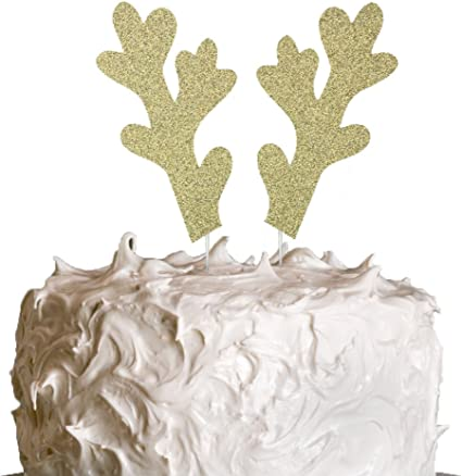 Personalised Name Antlers Cake Topper Birthday Party Decoration Merry Christmas