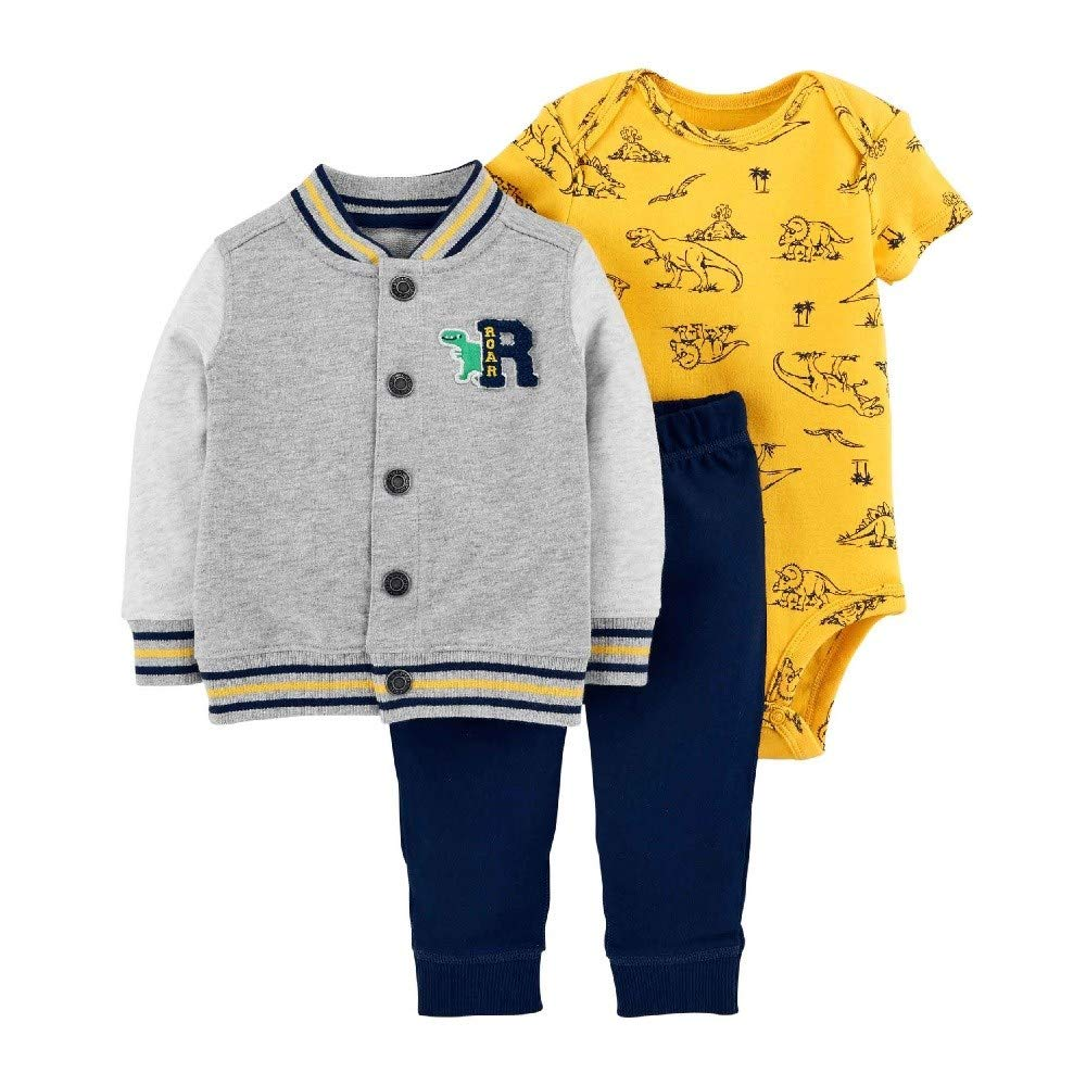 Carter's Baby Boys` 3-Piece Little Jacket Set (6 Months, Grey Multi)