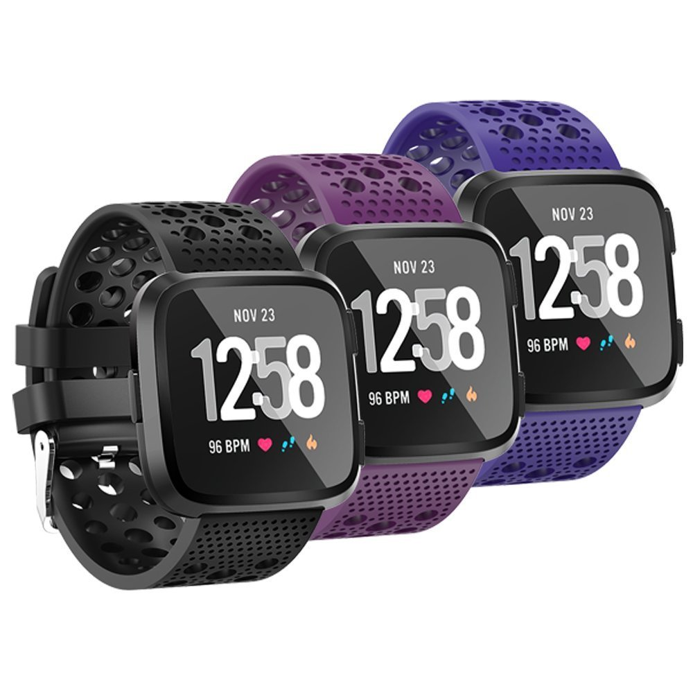 Fit-power Fitbit Versa Correa, Classic Ajustable Reemplazo Pulsera Deportiva para Fitbit Versa Smartwatch Grande/Pequeño