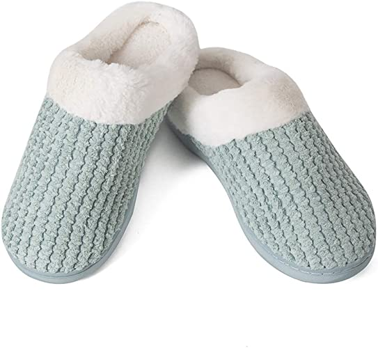 Mens Womens House Shoes Soft Warm Fleece Winter Cotton Slip-on Indoor Slippers