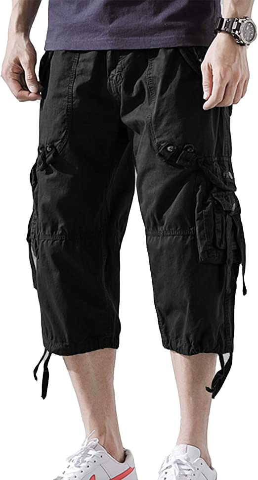 DONGD Mens Cargo Shorts Cotton 3//4 Loose Fit Below Knee Capri Cargo Short