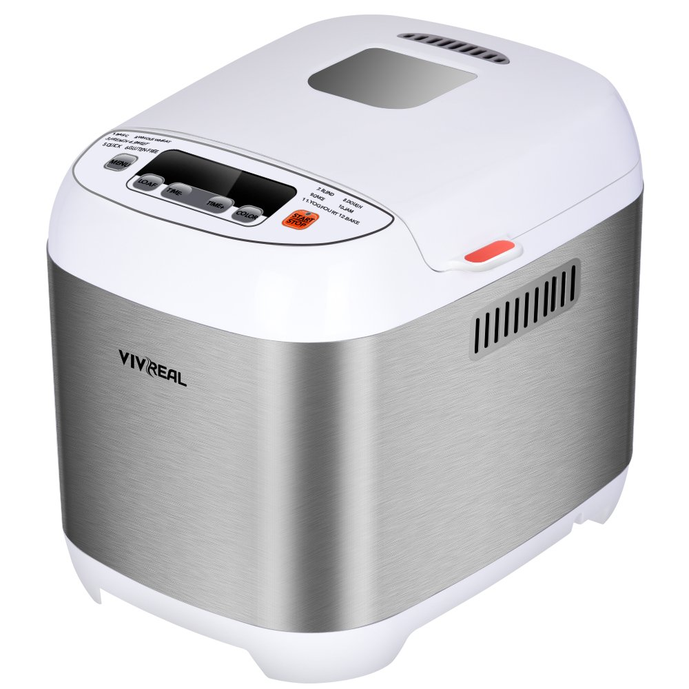 VIVREAL Bread Maker - Bread Machine Programmable Bread Maker with 15- Hour Delay Timer, 12 Programs, 3 Crust Colors, 2 Loaf Sizes(1/1.5 Pound), Automatic Bread Machine with Stainless Steal Housing