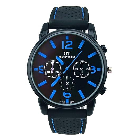 Cebbay Reloj Deportivo para Hombre Lente de Cristal Azul Reloj de Cuarzo Correa de Cuero Unisexo Negocios y Deportes de Ocio. (D): Amazon.es: Relojes