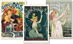 Set of 3 Art Nouveau Absinthe Biere Liquor Drinking Collection Vintage Ad Posters Set Bundle 24x36 inch