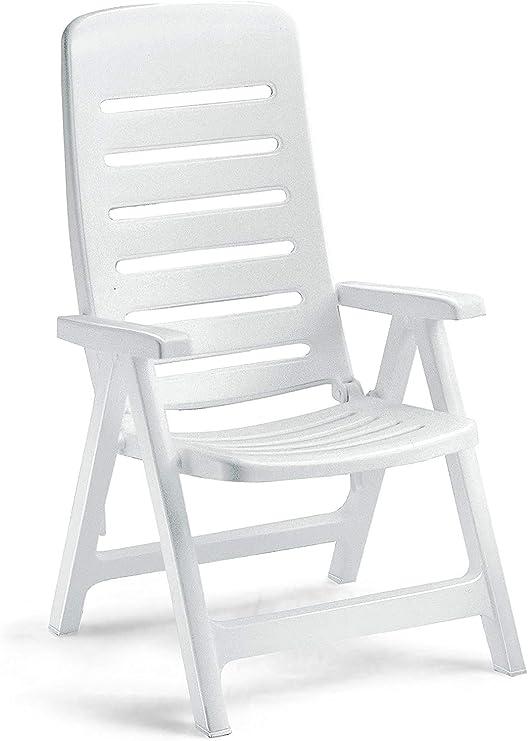 Ideapiu - Sillón de resina blanca, silla plegable de exterior, sillón de plástico ajustable, sillón con reposabrazos: Amazon.es: Hogar
