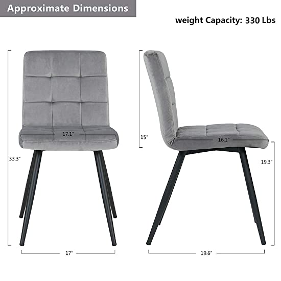 Duhome Set of 4 Velvet Dining Chairs,Mid Century Chairs Accent Chairs Gray Cushion Chairs Upholstered