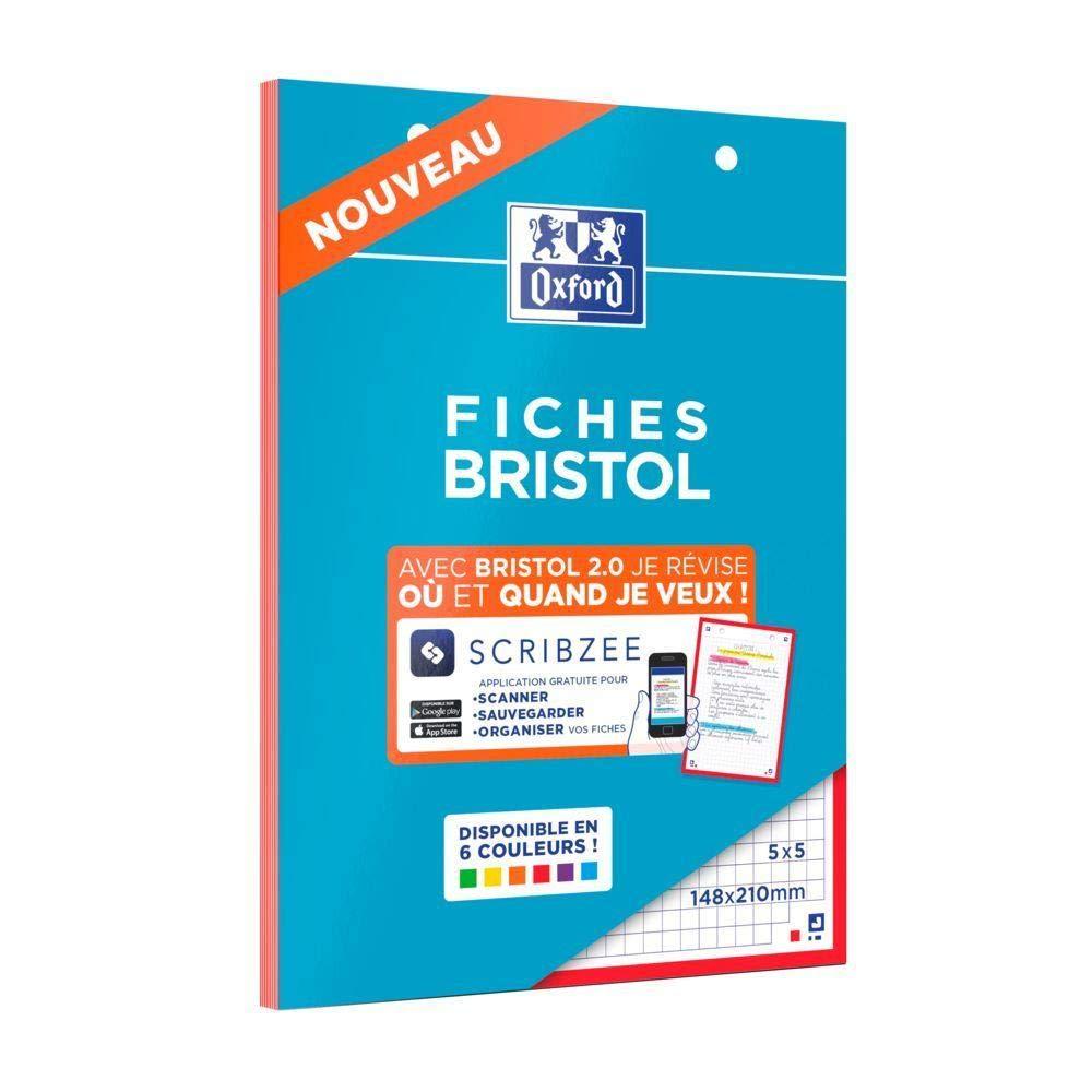Oxford - Juego de 5 blocs de 30 fichas Bristol (perforadas 2.0 A5 ...
