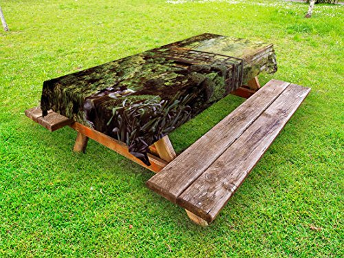 Lunarable Japanese Outdoor Tablecloth, Wood Bridge in Forest Serene Arboretum Relax Rest Spiritual Route Peace Landscape, Decorative Washable Picnic Table Cloth, 58 X 84 inches, Green Brown