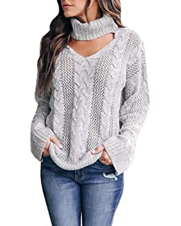 207cbcef102 Womens Plus Size Sexy V Neck Sweaters Turtleneck Choker Tops Oversized  Cable Knit Chunky Pullover